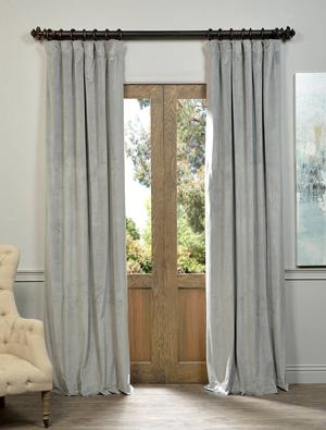 Velvet Curtains: Silver Grey Blackout Velvet Curtain