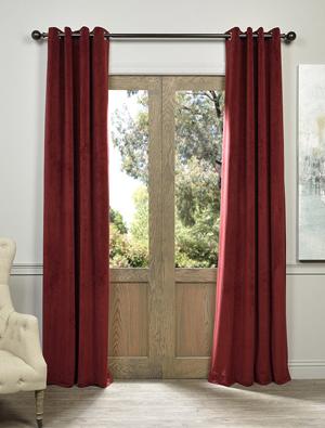 Burgundy Grommet Blackout Velvet Curtain