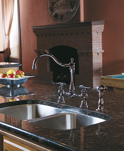 Transitional Kitchen Design With Traditional Fireplace The Farm House Style Faucet And Sink Are By