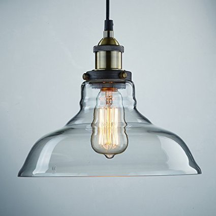Industrial style pendant light fixture with retro Edison bulb