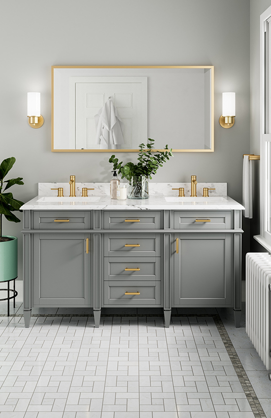 Brushed gold bathroom faucets and hardware are an emerging trend in 2018. Moen is now making a variety of brand new bathroom elements available in this finish. Photo courtesy of Moen.com.
