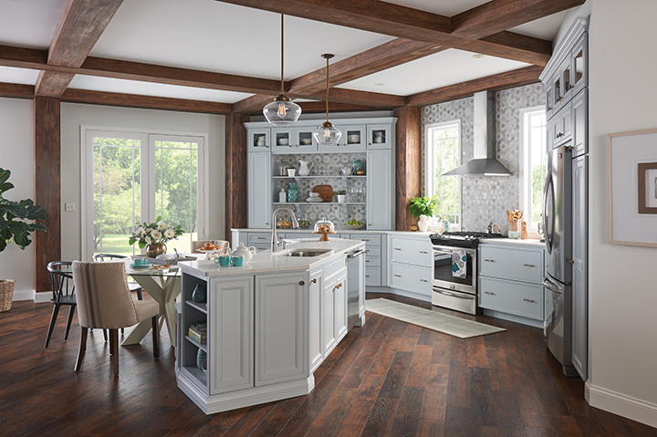 Trendy farmhouse style kitchen for 2018: Here in this photo, you see a collaboration between ThisOldHouse.com and Moen.com. Staff at This Old House chose Moen's faucet as one of their top 100 kitchen products.