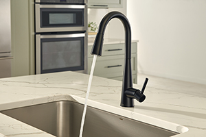This on-trend kitchen features a quartz countertop, undermount sink and Moen's Sleek pulldown kitchen faucet in the modern matte black finish. Photo courtesy of Moen.com.