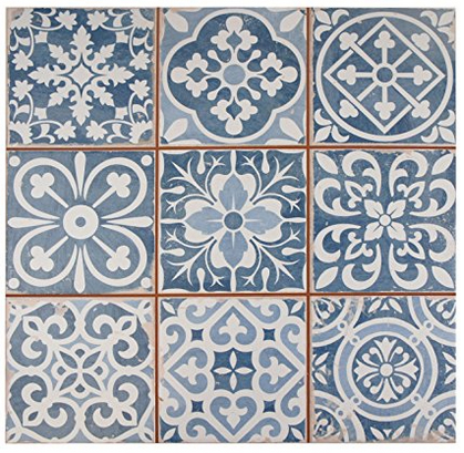 Patterned tile backsplashes are one of the top 2018 kitchen trends. This patterned blue and white ceramic tile was a best-seller in 2017, and the design is still selling briskly so far in 2018. The tile would make a spectacular backsplash in the kitchen, and it is also suitable for kitchen flooring.