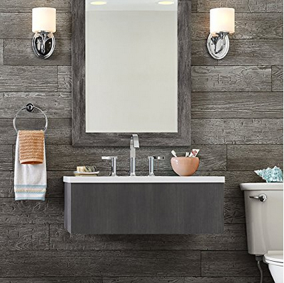 Rustic wall planks, also known as shiplap, for the bathroom