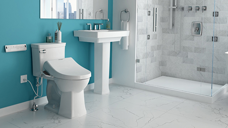 This bathroom features several on-trend elements including a teal wall color, gray and white bathroom tile, walk-in shower, and American Standard's Advanced Clean SpaLet bidet. Photo courtesy of AmericanStandard.com.