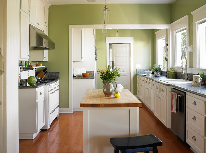 Trendy Kitchen With Wood Flooring and Butcher Block Prep Surface on the Kitchen Island. Paint Color Palette is by Dunn Edwards. Photo Courtesy of DunnEdwards.com.