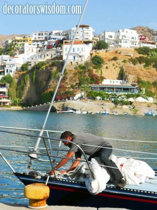 This is the kind of freedom decluttering can give you -- if you let it. Getting rid of almost everything we owned enabled us to set sail for the Mediterranean. Here's us, docking our sailboat in one of the Greek Islands' many small marinas.