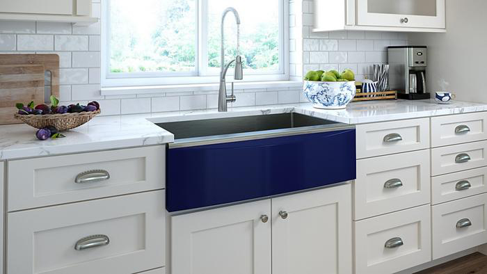 New Elkay Crosstown Farmhouse Style Apron Front Sink With Cobalt Blue Front. Photo Courtesy of Elkay.com.