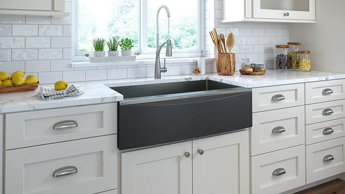 New Elkay Crosstown Farmhouse Style Apron Front Sink With Black Front. Photo Courtesy of Elkay.com.
