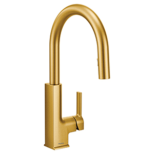 The Arbor Faucet by Moen in the Brushed Gold Finish. Photo Courtesy of Moen.com.