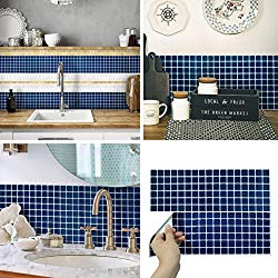 Navy blue tiles could make an attractive but serviceable backsplash in the kitchen.