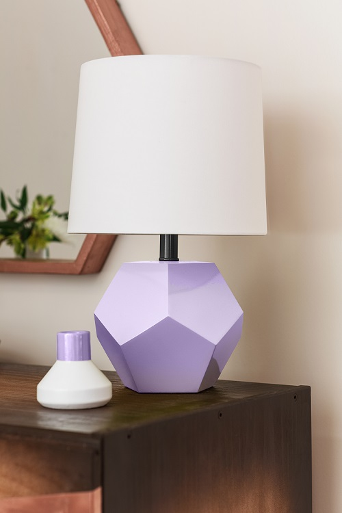 This trendy table lamp and vase have been spray-painted in Krylon's 2019 color of the year, a clean, fresh shade of purple known as Gloss Gum Drop. You can click the photo to shop for this paint color at Amazon. Photo is courtesy of Krylon and has been used with their permission.