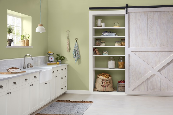 The focal point of this kitchen is a pantry area with sliding barn door. The wall surrounding the pantry is painted in Valspar's Martinique Dawn, color #6003-3B, which is a lovely green that's just barely greener than a beige would be. This color is on-trend for 2019, and we predict it will also have staying power in the years ahead. This photo is courtesy of Valspar; we've used it with their permission.
