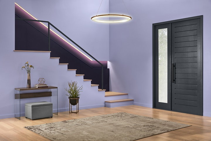 Pictured here, you see a foyer that has been painted in a Valspar paint color known as Twilight Mist. It's an eye-catching shade of lavender that's included on Valspar's color trend palette for 2019. Photo is courtesy of Valspar and has been used with their permission.