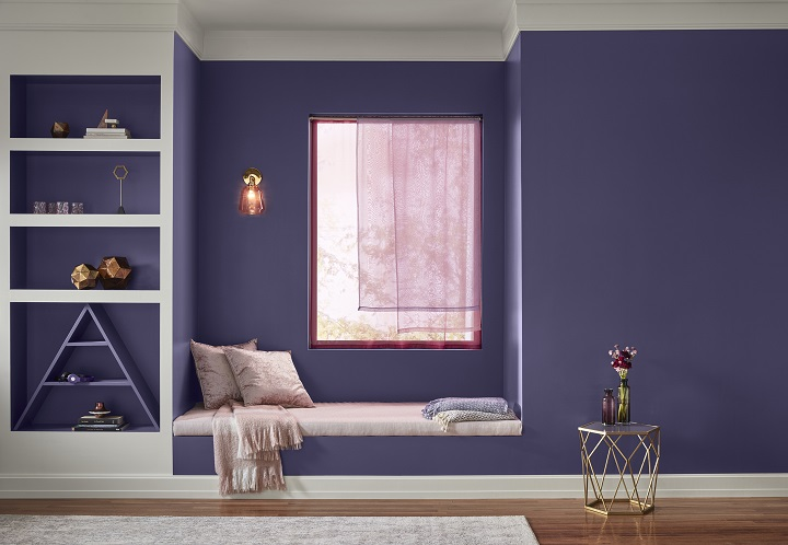 Pictured here, you see a window seat that has been painted in a Valspar paint color known as Metropolis Lilac. It's a dramatic shade of purple that's included on Valspar's color trend palette for 2019. Photo is courtesy of Valspar and has been used with their permission.
