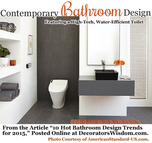 The Focal Point of This Contemporary Bathroom Design: A High-Tech, Water Efficient Toilet by American Standard. Photo Courtesy of AmericanStandard-US.com.