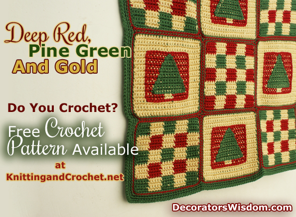A Blanket in Traditional Christmas Colors: Deep Red, Pine Green and Gold. If You Crochet, Feel Free to Grab the Free Pattern for This Design and Make One of These for Yourself.