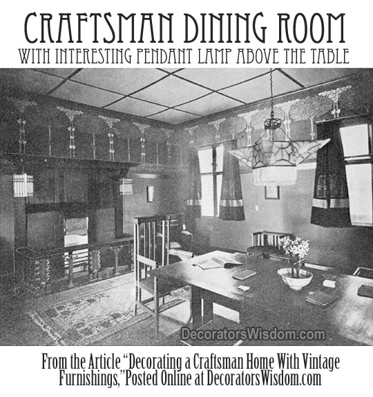 A Craftsman-Era Dining Room Which Features an Interesting Pendant Lamp Hanging Over the Dining Room Table.