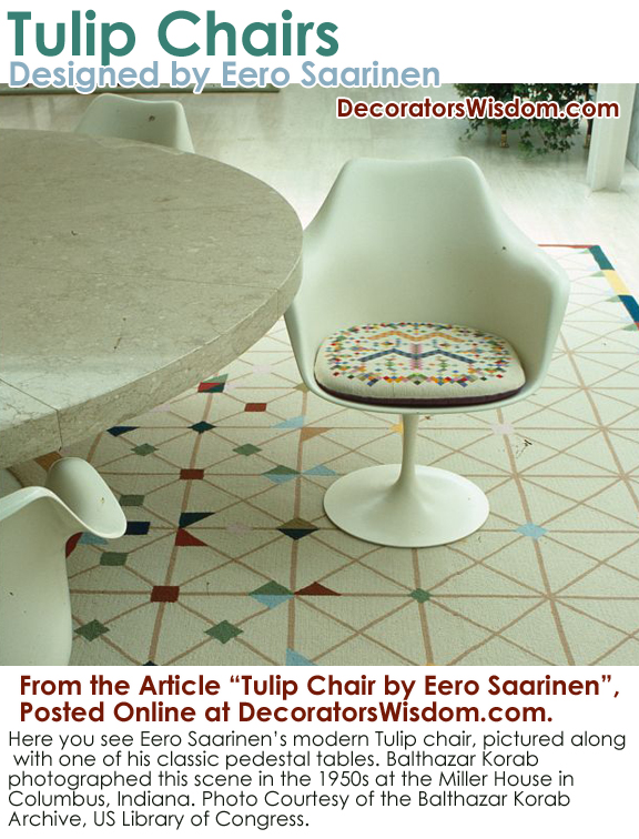 Eero Saarinen's Tulip Chair Design, Produced by Knoll Associates.