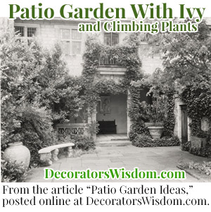 This Vintage Photograph Depicts a Classic Patio Setting Which Is Enhanced by Ivy and Other Climbing Plants.