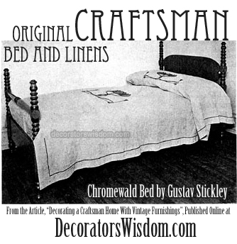 Original Craftsman Bedroom Furnishings: The Chromewald Bed by Gustav Stickley, Circa 1916