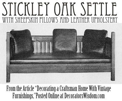 Craftsman Furniture: A Stickley Oak Settle With Sheepskin Pillows and Leather Upholstery