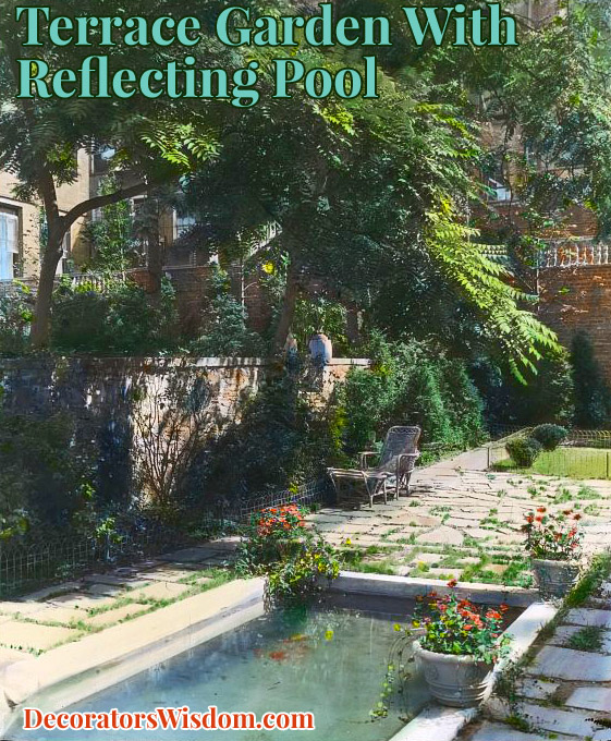 Terrace Garden With Reflecting Pool, Photographed in 1921 by Noteworthy Photographer Frances Benjamin Johnston.