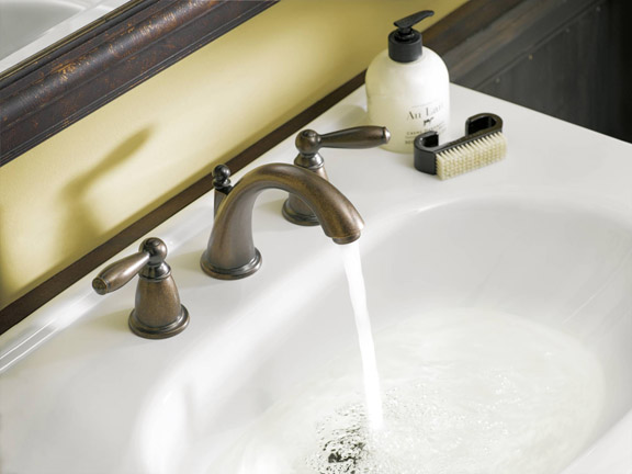 Pictured Here: The Brantford two-handle high arc bathroom faucet by Moen. This faucet is on-trend in 2016 for several reasons. The oil-rubbed bronze finish is a popular color choice, plus this water-efficient design was awarded the EPA's Watersense seal.