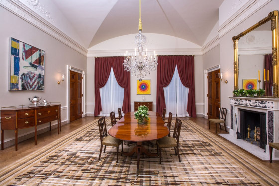 The White House Family Dining Room's New Look After Its Redecoration in 2015 by Michelle Obama.