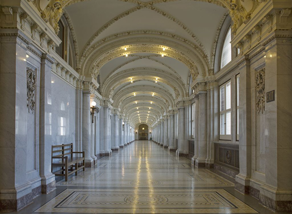 Here's an Example of an Impressive Public Space That Incorporates White Sierra Granite Wall Cladding. This Is a Corridor in the James R. Browning U.S. Court of Appeals Building, Located in San Francisco, California. This Is a Prime Example of Beaux Arts Classical Style Architecture and Design.